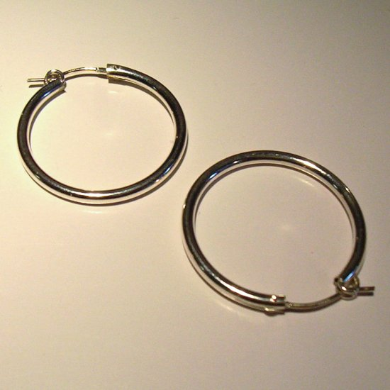 3.5 cm Sterling Silver Hoop Earrings