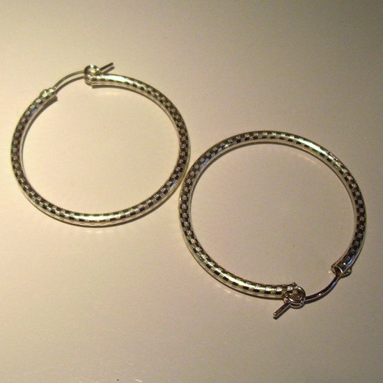 5 cm Sterling Silver Hoop Earrings-etched