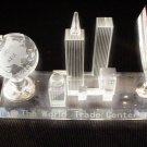Crystal- World Trade Center Pen Holder with Rotating Globe