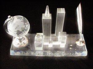 Crystal- World Trade Center Pen Holder with Rotating Globe