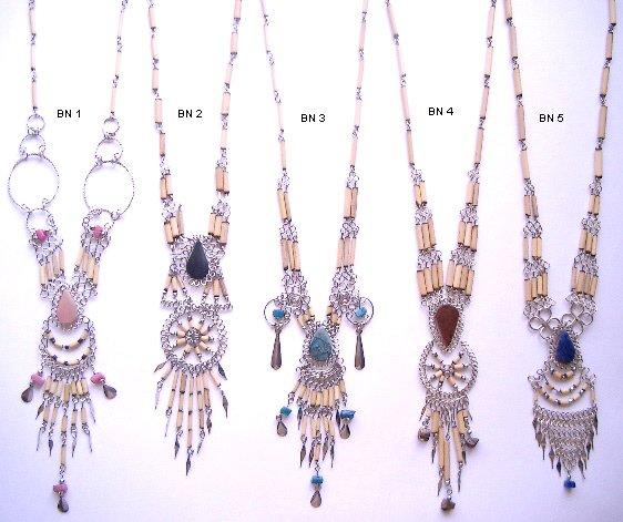Incan Bamboo & Gemstone Necklace FREE SHIPPING