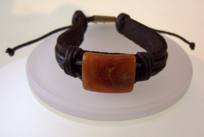 Stone and Leather Bracelet- FREE SHIPPING