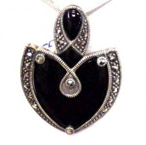 Onyx Leaf Sterling Silver Pendant
