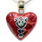Red Coral Heart Sterling Silver Pendant