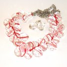 Fashion Necklace Set - Red Threaded Crystals