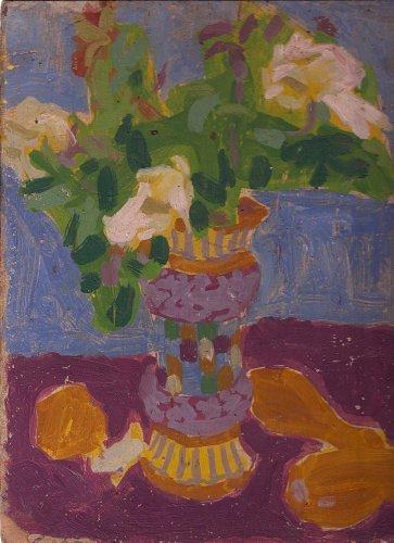 Flowers in Mosaic Vase By Carmel Artist Victor Di Gesu Original Oil Painting on Board
