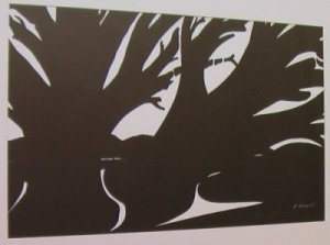 Dark Cypress II By Carmel Artist Dick Crispo Original Wood Block Print - Framed Artwork