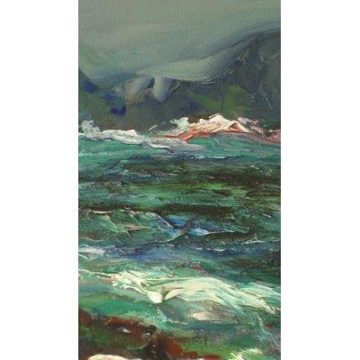 Breaking the Waves, Oil Painting By Carmel Artist Dick Crispo - Framed Artwork