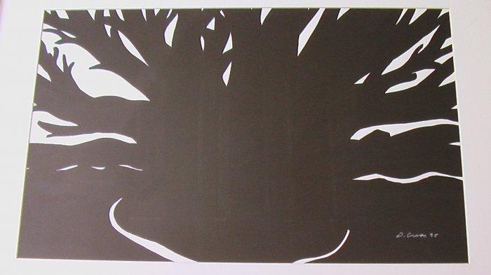 Dark Cypress I, Wood Block By Carmel Artist Dick Crispo - Framed Artwork