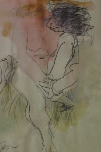 Figure, Watercolor and Pencil Drawing By Carmel Artist Victor Di Gesu - Framed Artwork