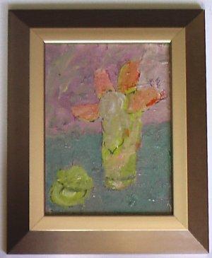 Four Petals, Oil on Board Painting By Carmel Artist Janet Ament de la Roche - Framed Artwork