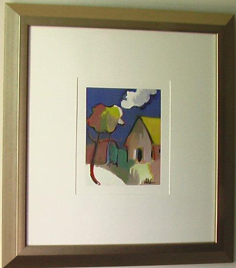 Blue Sky By Ali Golkar Acrylic On Paper Painting - Framed Artwork