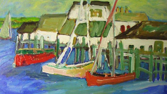 Monterey Wharf By Carmel Artist Jane Bradford Oil on Canvas Painting - Framed Artwork