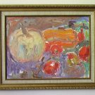 Pumpkin Still Life By Carmel Artist Janet Ament de la Roche, Oil Painting on Board - Framed Artwork
