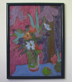 Floral on Blue Table By Carmel Artist Victor Di Gesu, Oil Painting on Board - Framed Artwork