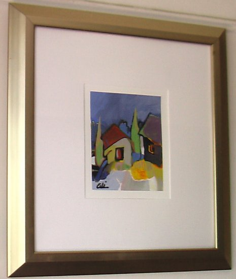 Houses By Ali Golkar, Original Acrylic Painting on Paper - Framed Artwork