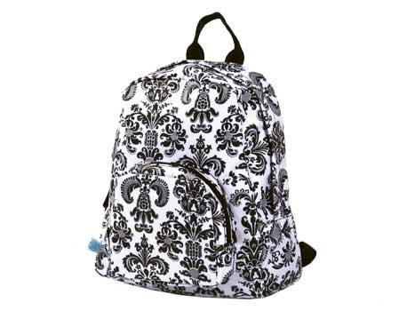 FREE SHIP Paris Black White Damask Mini Backpack by Room It Up RoomItUp FREE SHIP USA