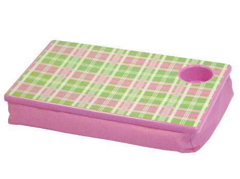 FREE SHIP Pink Green Plaid Lap Desk Tray Cup Holder by RoomItUp / Room It Up FREE SHIP - USA