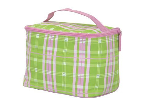 FREE SHIP Pink Green Plaid Makeup Train Case by RoomItUp / Room It Up FREE SHIP - USA
