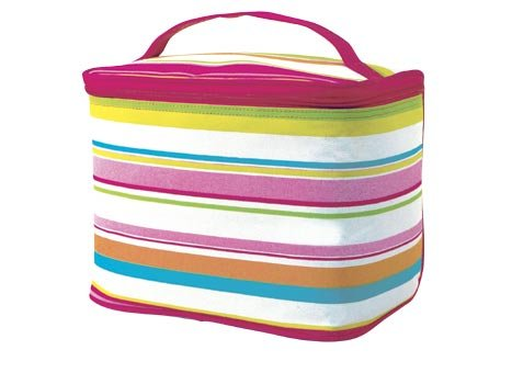 FREE SHIP Pink Preppy Stripe Makeup Train Case by RoomItUp / Room It Up FREE SHIP - USA
