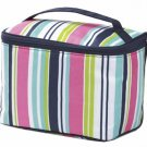 FREE SHIP Navy Pink Stripe Makeup Train Case by RoomItUp / Room It Up FREE SHIP - USA