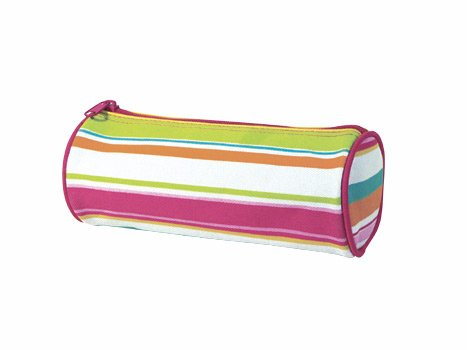 FREE SHIP Pink Preppy Stripe Pencil Brush Case by RoomItUp / Room It Up FREE SHIP - USA