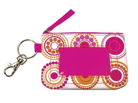 FREE SHIP Hot Pink Circle Polka Dot ID Case Key Ring RoomItUp / Room It Up FREE SHIP - USA
