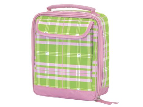 FREE SHIP Pink Green Plaid Lunch Bag Tote by RoomItUp / Room It Up FREE SHIP - USA