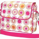 FREE SHIP Hot Pink Circle Polka Dot Messenger Bag Sling Diaper by RoomItUp / Room It Up USA