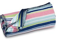 FREE SHIP Navy Pink Stripe Fleece Blanket by RoomItUp / Room It Up FREE SHIP - USA