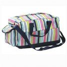 FREE SHIP Navy Pink Stripe Duffle Bag Tote by RoomItUp / Room It Up FREE SHIP - USA