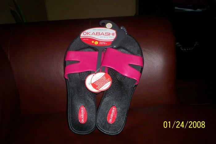pink OKABASHI Wave Sandals L New   womens large