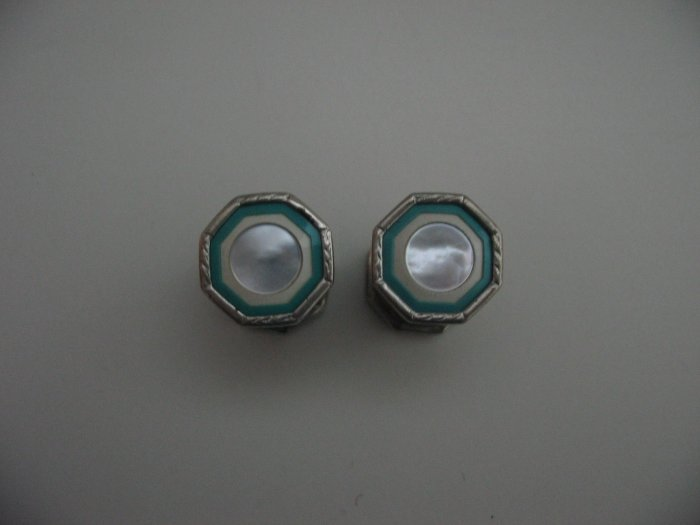 TURQUOISE WHITE PEARL CUFF LINKS