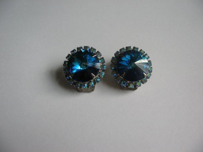 BRIGHT BLUE RIVOLI EARRINGS