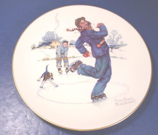 Noman Rockwell Gay Blades Gorham porcelain winter plate 1974 Four Seasons series