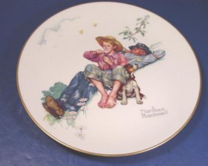 Gorham Norman Rockwell porcelain china Day Dreamers Spring plate 1974 Four Seasons series