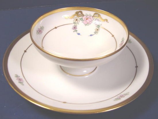 Pickard handpainted Nippon china mayonnaise dish bowl under liner plate maple leaf flowers bows