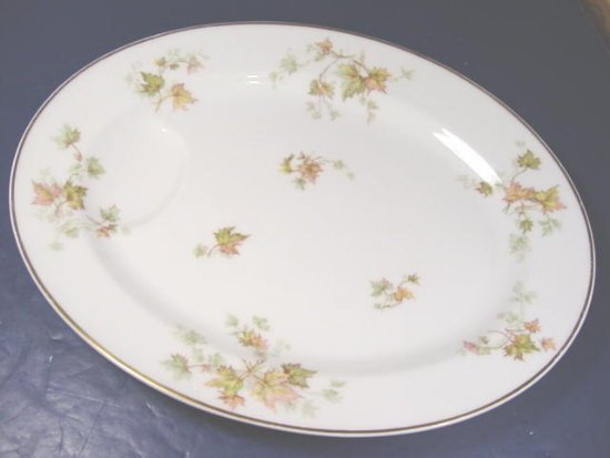 HAVILAND LIMOGES CHINA AUTUMN LEAF GOLD TRIM FRANCE LARGE OVAL SERVING PLATE 13 5/8� PLATTER