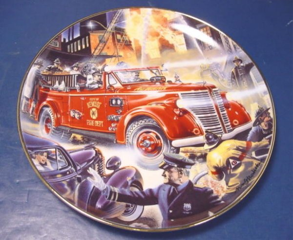AMERICAN LA FRANCE FIRE ENGINE TRUCK PLATE NATIONAL FIRE MUSEUM PORCELAIN CHINA DISH FRANKLIN MINT