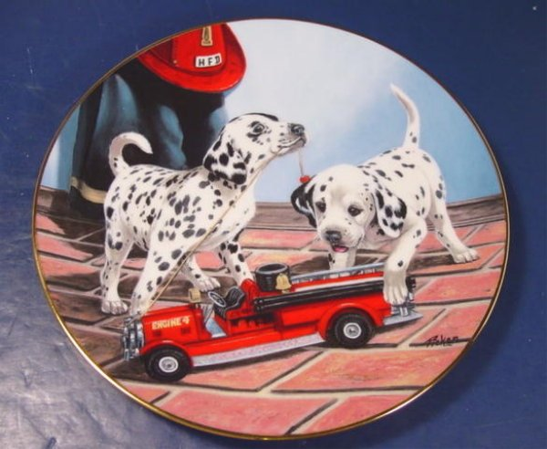 DALMATIAN DOG PRINCETON GALLERY DALMATION ALL FIRED UP PORCELAIN PLATE 1992 DISH LINDA PICKEN E0198