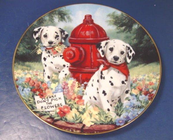 DALMATIAN DOG PRINCETON GALLERY PUPPIES FLOWERS PORCELAIN DALMATION PLATE LINDA PICKEN E0126
