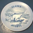 ALASKA 1971 POLAR BEARS COLLECTOR PLATE VILETTA'S ARTS LIMITED EDITION, BLUE WHITE, BEAR AND CUBS