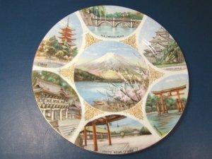 NORITAKE PLATE MT. FUJI IMPERIAL PALACE OSAKA CASTLE MIYAJIMA SOUVENIR JAPAN PORCELAIN CHINA DISH