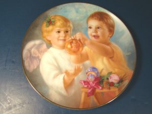 MY ANGEL DANBURY MINT MAGO PORCELAIN PLATE CHRISTMAS HEAVENLY ANGELS CHERUB 1991 ARTAFFECTS, BOX