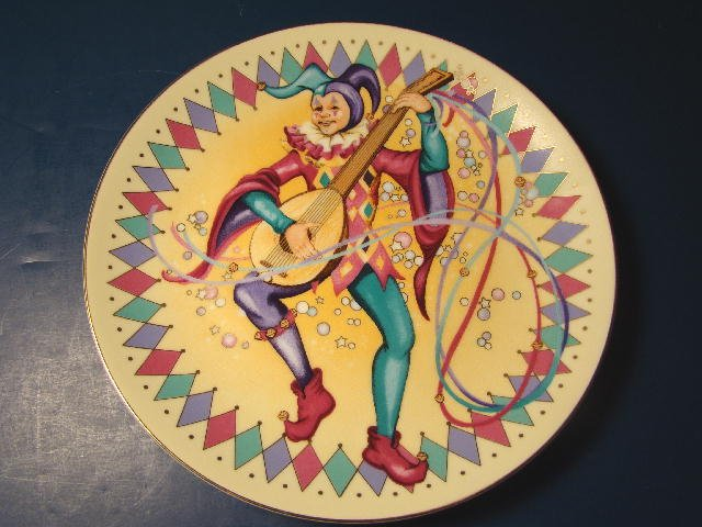 Merry Jester plate Entertainers Christmas 1988 Willitts Galleries porcelain china Ellen Williams
