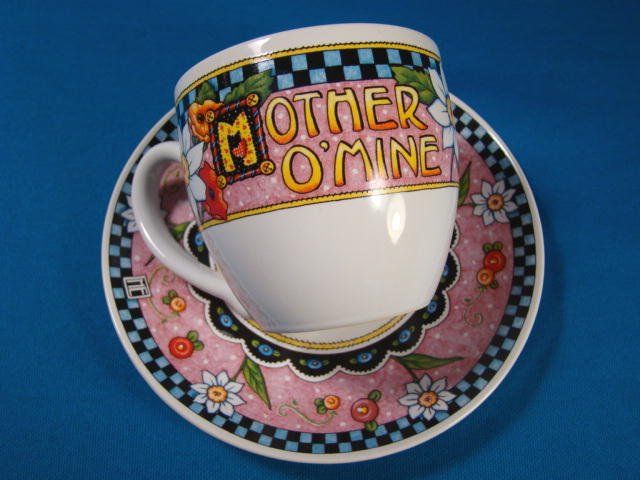 Mother O' Mine tea coffee china cup saucer Andrews McMeel Publishing for Mom checkerboard flowers