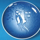 1980 Mother's Day B&G Bing and Grondahl Mors Dag plate Copenhagen Denmark blue white woodpecker