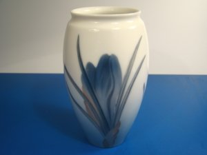 Bing and Grondahl Royal Copenhagen vase porcelain B&G Denmark blue iris flower signed 7933-254