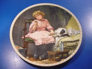 Royal Doulton In Good Hands plate A Victorian Childhood 6th 1992 Charles Burton Barber dog and girl