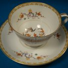 Noritake China Hawthorne footed cup & saucer Greek Key floral pattern 4914 Japan 1950s